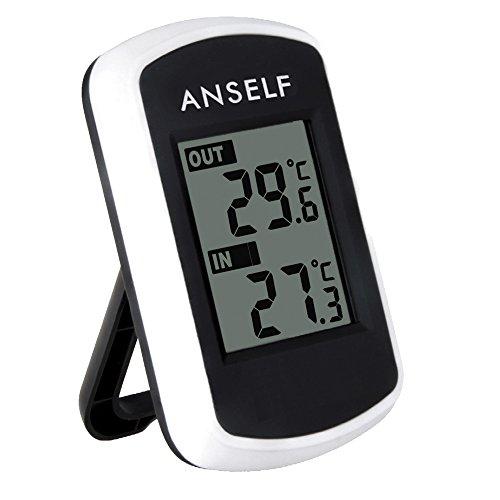 Anself TS04 - Reloj Termómetro Digital Medidor de Temperatura Exterior Interior (Inalámbrico,LCD Pantalla)