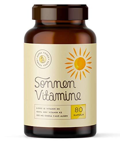 4.000 Vitamin D3, K2 (vitaMK-7®, 99,99% All-Trans) und pflanzliche Omega 3 Fettsäuren aus Leinsamen und Algen | SONNENVITAMINE | Ohne Zusatzstoffe, ohne Hilfsstoffe | 80 V-Caps