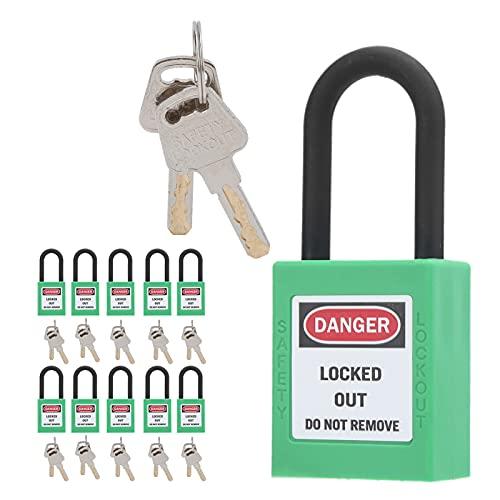 Bloqueo de bloqueo y etiquetado, candados profesionales de bloqueo y etiquetado resistente a los impactos 10 para uso industrial para fábricas de productos químicos(verde)
