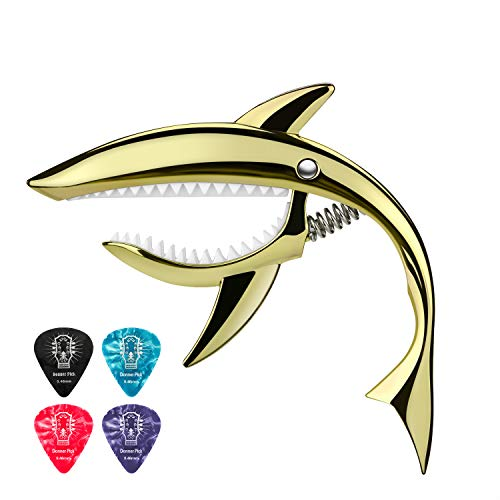 Donner Kapodaster Gitarre Shark Capo Zinklegierung für Gitarre, Ukulele, Banjo, Mandoline, Bass, Gold (DC-4)