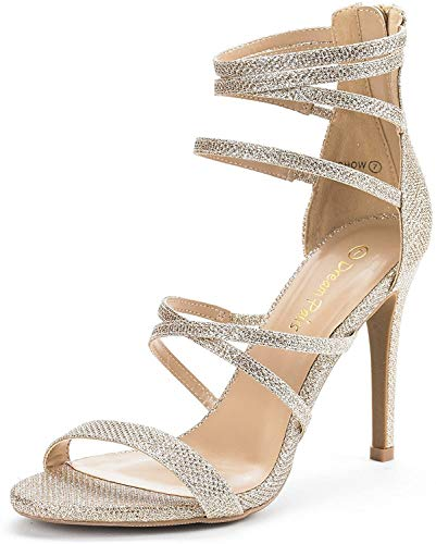 DREAM PAIRS Women's Show Gold Glitter High Heel Dress Pump Sandals - 8 M US