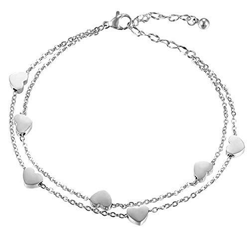 Keybella Bracciale Braccialetto Donna Bracciale Acciaio Inox Cuore,Colore a Scelta (argento)