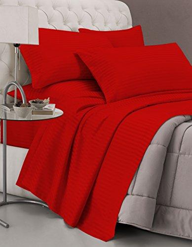 Italian Bed Linen CL-ST-rosso-2P Completo Letto con Lenzuolo sopra, sotto e Federe in Tinta Unita Rigato, Raso di Poliestere, Rosso, Matrimoniale, 300x250x1 cm