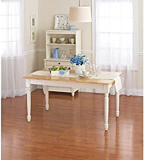 Better Homes and Gardens Autumn Lane Farmhouse Dining Table, White and Natural by Better Homes & Gardens