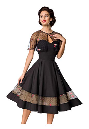 Belsira Damen Vintage-Kleid mit Cape M275 M