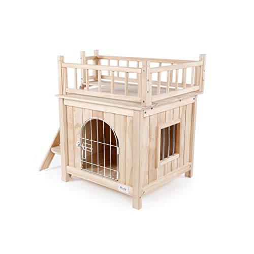 Cama para Mascotas Caseta de Perro sólida de Madera al Aire Libre/Perro de Interior y del Gato/Animal Casa Jardín cajón for facilitar la Limpieza Resistente a la Intemperie Cama para Perros