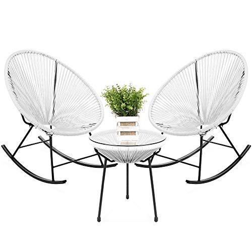 Best Choice Products 3-Piece All-Weather Patio Woven Rope Acapulco Bistro Furniture Set w/Rocking Chairs, Table - White