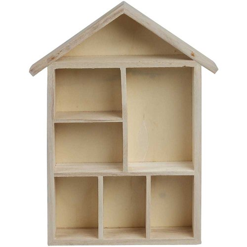Creativ - Bacheca portaoggetti a forma di casa, in legno, 30 x 22 x 4,5 cm