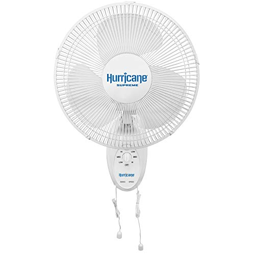 Hurricane Wall Mount Fan-12 Inch, Supreme Series, 90 Degree Oscillation 3 Speed Settings, Adjustable Tilt-ETL Listed, 12-Inch, White