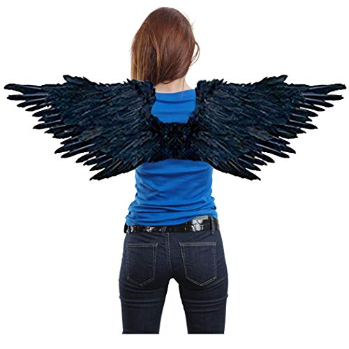 Large Feather Costume Fairy Angel Wings in Black Men Women Adults