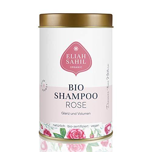 ROSE Bio Pulver Shampoo von ELIAH SAHIL I Natürliches Volumen und Glanz I 100 gr. Shampoopulver ca. 30 x waschen I 100% Bio zertifizierte Naturkosmetik I Vegan I Damen und Herren Shampoo I