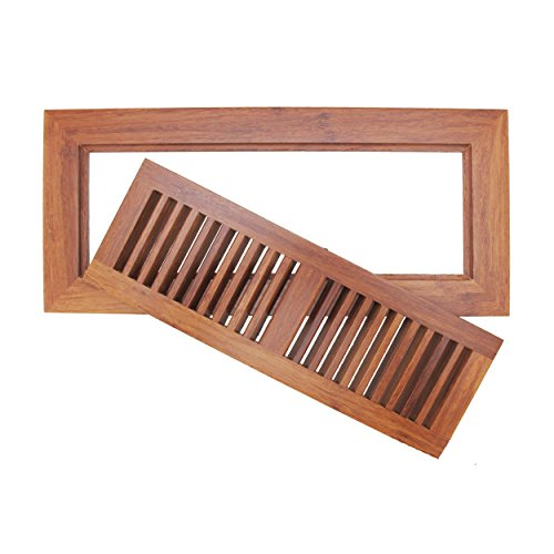 "BambooMN 6 3/4"" Inch x 14 3/4"" Inch Strand Woven Bamboo Floor Register Air Vent Flat Cover - Carbonized Brown - 1 Cover"