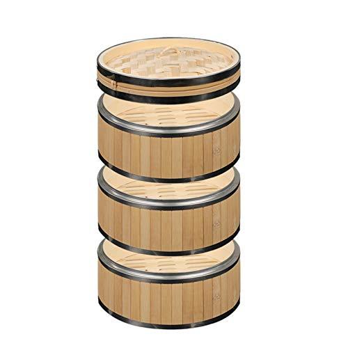 CBRCYGG Piroscafo in bambù, cestello per Vapore Dim Sum, vaporiera Cinese a 3 Livelli per Riso, Gnocchi, Verdure, Carne e Pesce, Riutilizzabile, Facile da Pulire