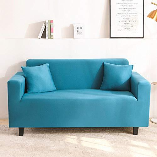 QJHDM Funda para Sofá 1 2 3 4 Plazas Azul Verde Universal Antideslizante Elástica Extensible Fabric Protector Cubierta Cubre De Sofá Fundas 145-185Cm