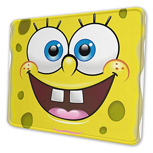 Free Spongebob Mouse Pad with Stitched Edges Comfortable Mouse Mat Pad Non-Slip Rubber Base Mousepad for All Types of Mouse Laptop Computer