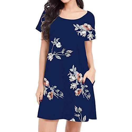 Damenkleid Casual Summer A-Line Knielanges Kleid Casual Kurzarm-Hemdkleid mit O-Ausschnitt und Taschen(XL,Blau)