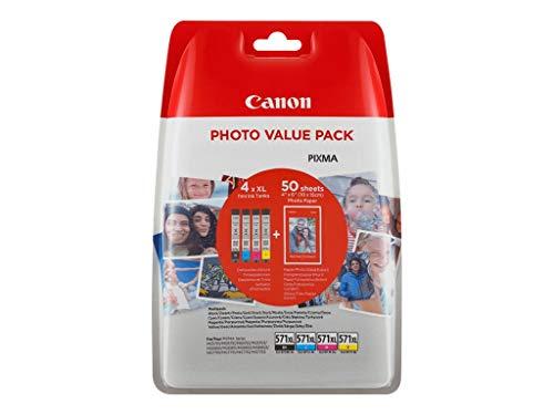 Canon CLI-571XL Cartouches BK/C/M/Y Multipack XL Noir, Cyan, Magenta, Jaune + Pack de 50 Feuilles Papier Photo PP-201 10x15cm (Emballage plastique)