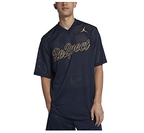 Nike Jordan Men's Re2pect Baseball Training Jersey-Navy-Medium
