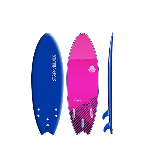 StormBlade 5ft6 Storm Blade Swallow Tail Surfboard // Foam Wax Free Soft Top Shortboard for Adults and Kids