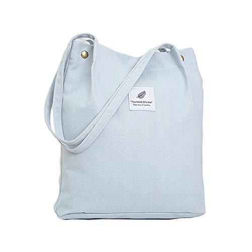Hallolife Canvas Tasche Damen Canvas Umhängetasche Shopper Casual Handtasche groß Chic Schulrucksack für Alltag Büro Schulausflug Einkauf, 38 x 32 x 11cm hellblau