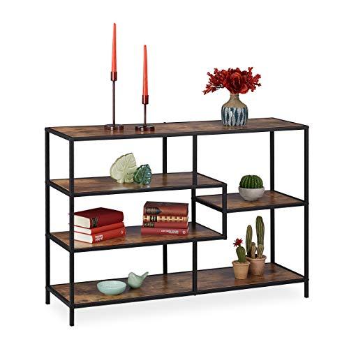 Relaxdays Standregal Vintage, Industrie Design, offenes Regal, Holzoptik, Metall, HBT: 78,5 x 114 x 33 cm, braun-schwarz