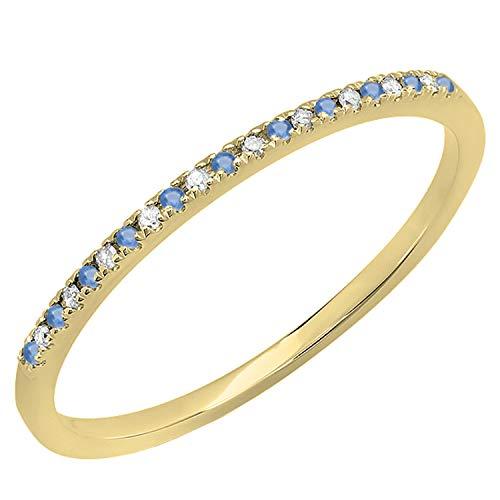 Dazzlingrock Collection Anillo de boda apilable de zafiro azul redondo y diamante blanco para mujer, anillo de aniversario | oro amarillo de 14 quilates, talla 8.5