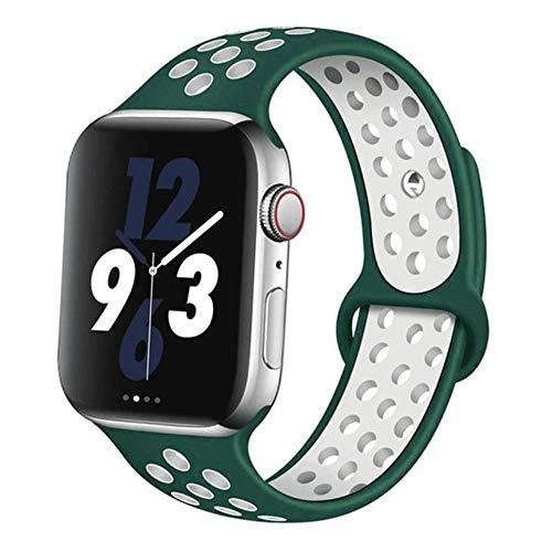 AIXIXI Correa Deportiva para Apple Watch Band 44Mm 42Mm para Iwatch Band 40Mm 38Mm Pulsera De Silicona Correa para Apple Watch 5 4 3, China, Tinta Verde-Blanco
