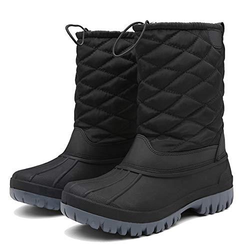 [JSWEI] スノーシューズ ムートンブーツ メンズ レディース 撥水 暖かい 軽い 防寒靴 防滑 軽量 冬用 ブーツ 雪靴 (ブラック,25.5cm)