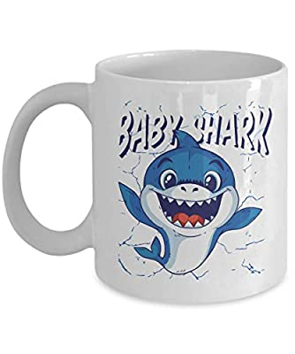 Baby Shark Coffee Mug - Kids Song Cute Witty Blue Shark Mommy Shark Family Pregnancy Announcement Future Mom Mother's Day Father's Day 11 Oz