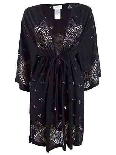 Dotti Plus Size Santorini Tile Tunic Cover-Up Black 1X