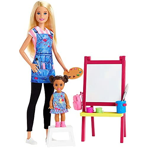 Buy Barbie Art Teacher Playset With Blonde Doll Toddler Doll Easel And Accessories Toys R Us