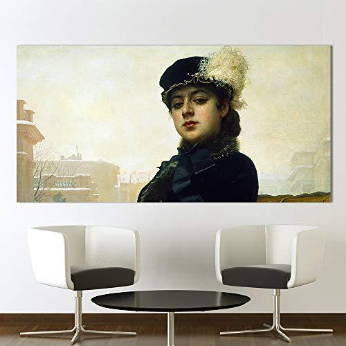BailongXiao Leinwand Wandkunst Bilddruck für Porträt der unbekannten Frau im Wohnzimmer,Rahmenlose Malerei,75x150cm