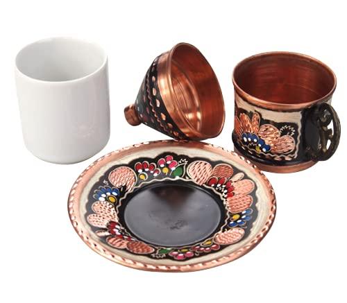Orient-Feinkost Mokka Tassen Set aus Kupfer handbemalt mit Deckel für 1 Person mit Porzellan Becher