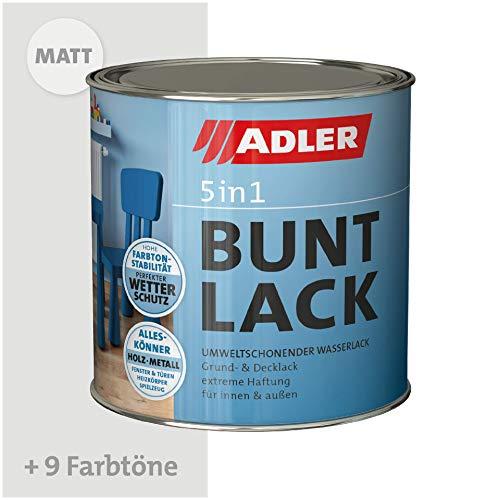 ADLER 5in1 Buntlack für Innen und Außen - Matt - 125ml- Wetterfester Lack und Grundierung für Holz, Metall & Kunststoff RAL7035 Lichtgrau