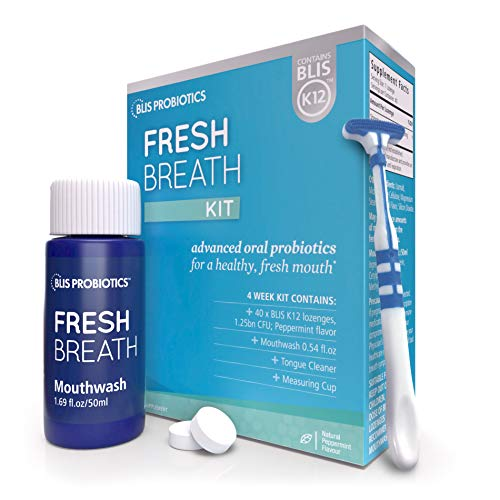 BLIS Fresh Breath Kit with Potent BLIS K12 Oral Probiotics | Clinically Proven Bad Breath and Halitosis Treatment | Contains Mouthwash, Tongue Scraper and Lozenges - 1 Month Supply