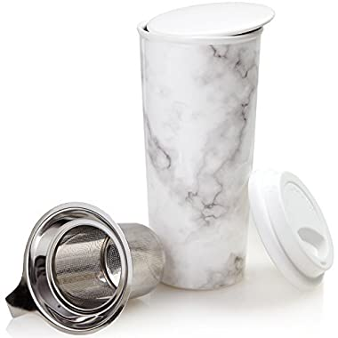 Ceramic Travel Mug with Lid. Double-Walled Insulated Cup comes with Deep Stainless Steel Tea Infuser and Bonus Silicone Top. Extra Tall Single Cup Perfectly Steeps Loose Leaf Tea … (Marble, 16 oz)