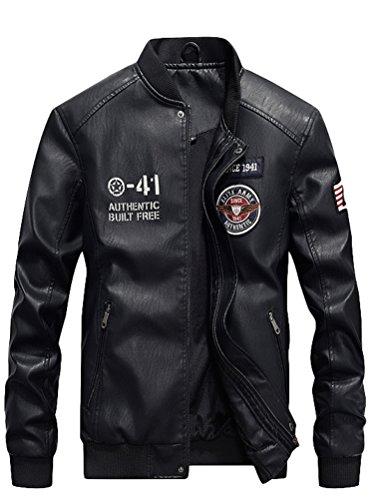 Vogstyle Uomo Nuovo PU Pelle Baseball Giacca Casual Zip Cappotto Jacket Nero L