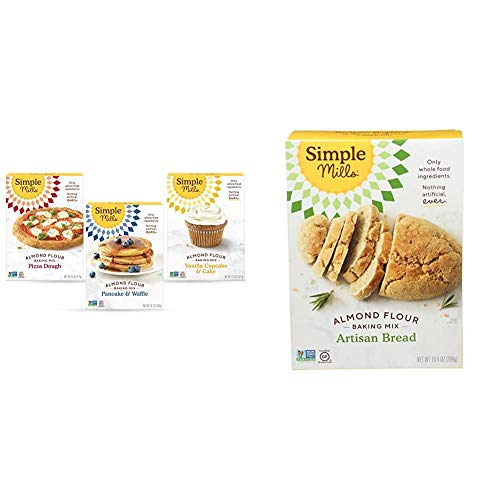 Simple Mills, Baking Mix Variety Pack, Pancake & Waffle, Pizza Dough, Vanilla Muffin & Cake Variety Pack, 3 Count & Almond Flour Baking Mix, Gluten Free Artisan Bread Mix, Made with whole foods
