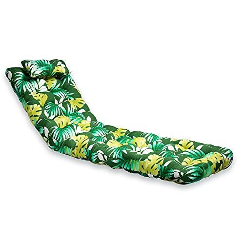 Bemitus Cuscino per sedia a sdraio da giardino, materasso imbottito in fibra per sedia a dondolo, fatto a mano in Spagna, in cotone e poliestere, Oeko-Tex anallergico (colore: verde, 180 x 55 x 12 cm)