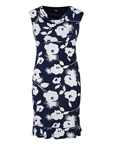 Bexleys Woman by Adler Mode Damen Kleid mit Wasserfallausschnitt und Volantsaum Marine/weiß 40