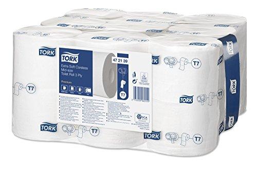 Tork 472139 extra weiches hülsenloses Midi Toilettenpapier in Premium Qualität für Tork T7 Doppelrollenspender / WC-Papier 3 lagig / hülsenlos / extra weich und reißfest, 18 x 550 Blatt