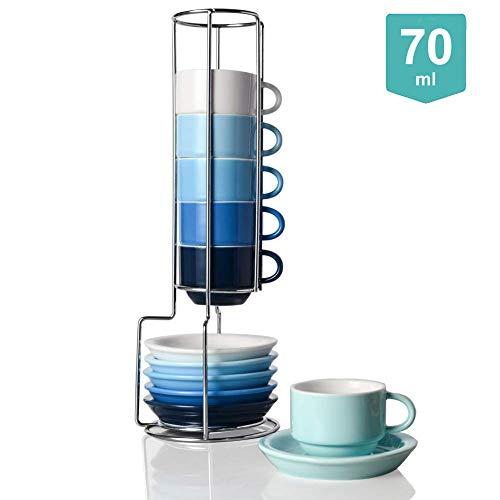 Sweejar Porzellan-Espresso-Tassen und Untertasse, stapelbar, mit Metallständer, 70 ml für Latte, Kaffee, Café, Mokka, Tee, 6 Stück ähnliche Farbe