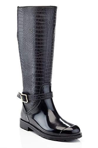 Henry Ferrera Women's Crocodile Fur Lined Tall Fashion Winter Boot, Black, 7 US