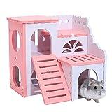 BulzEU- Luxus Holz Kunststoff Pink Hamster Burg Haus Käfig für Hamster Ratten Mäuse Kleintiere...