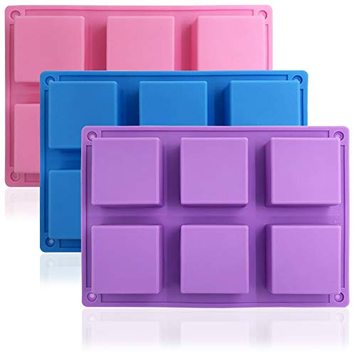 3 Packs 6 Cavities Silicone Cake Baking Mold (Purple, Blue, Pink), DaKuan Baking Mold Cake Pan, Biscuit Chocolate Mold, Ice Cube Tray, Soap Mold