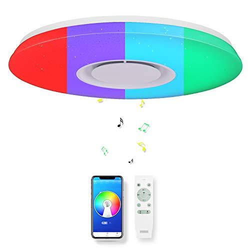 CHYSONGOODS 36W 40cm/15.7Inch redonda Plafón lampara led techo colores brillo iluminación de techo de interior con altavoz bluetooth y mando a distancia para habitación,cocina,sala