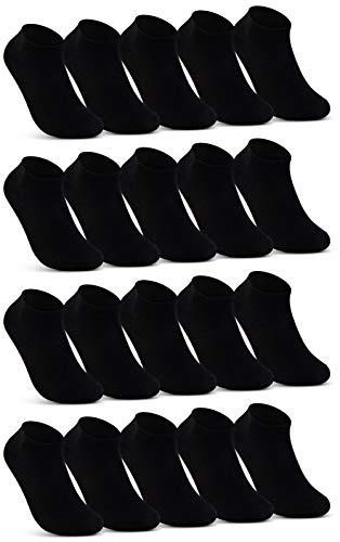 10   20   30 Paar Sneaker Socken Herren Damen Schwarz Weiß Grau Baumwolle 16900(20x Schwarz 43-46)