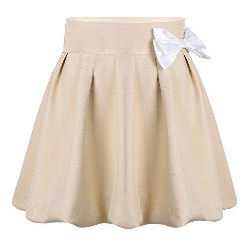 YiZYiF capa elástica falda plisada uniforme de los niños suave con la ropa escolar corta ocultos para chicas 4 Caqui