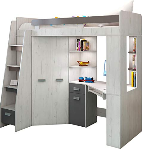 Hochbett mit Schreibtisch, Regal und Kleiderschrank. Treppe rechts oder links (Craft-white/Graphite - Left Hand-side Stairs)