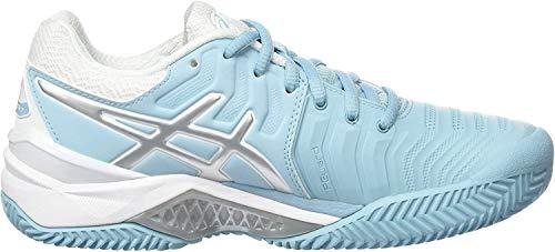 ASICS Damen Gel-Resolution 7 Clay Tennisschuhe, Mehrfarbig (Porcelain Blue/Silver/White 1493), 39.5 EU